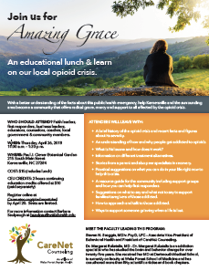 CareNet Cousenling flyer for Amazing Grace with a woman sitting on a rock overlooking the mountain.